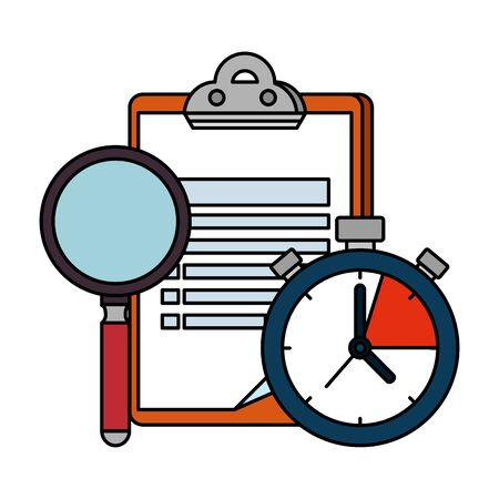 checklist clipboard with chronometer and magnifying glass vector illustration