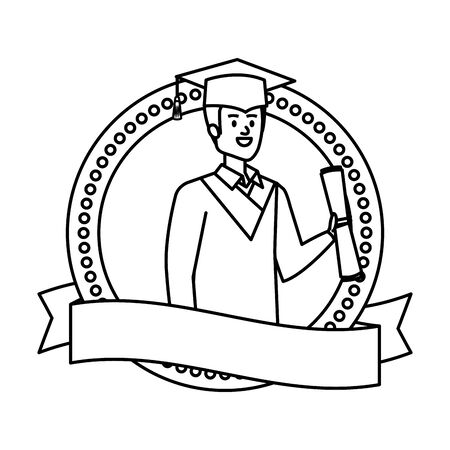 man student graduated with diploma in emblem vector illustration design