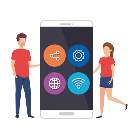 young couple with smartphone and social media menu vector illustration design