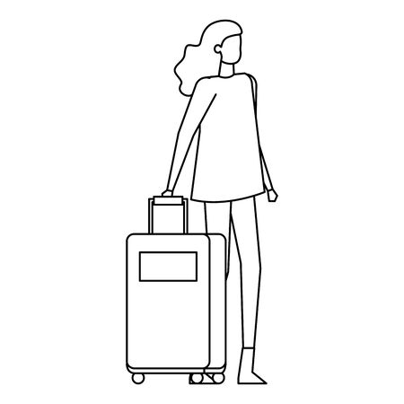 beautiful young woman with travel suitcase vector illustration design