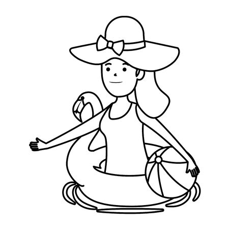 young girl with flemish float and ball beach toy vector illustration design Banque d'images - 133470090