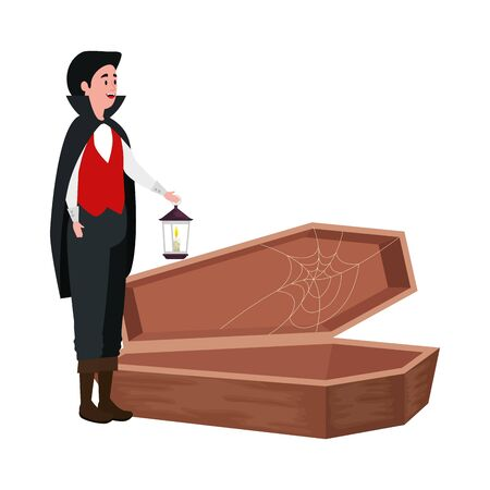 young man disguised vampire with coffin and lantern vector illustration design Çizim