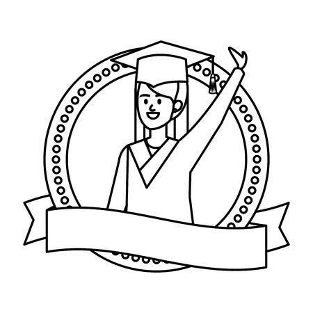 woman student graduated celebrating in emblem with ribbon vector illustration  イラスト・ベクター素材