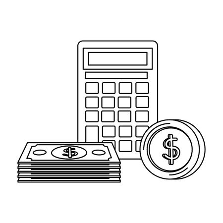 coins and bills money dollars with calculator vector illustration design Zdjęcie Seryjne - 133461472