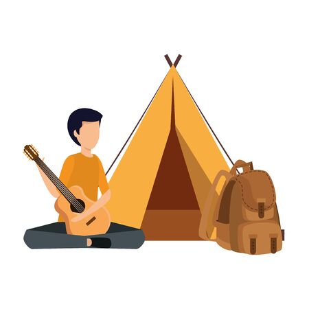 young man playing guitar with camping tent and travelbag vector illustration Ilustrace