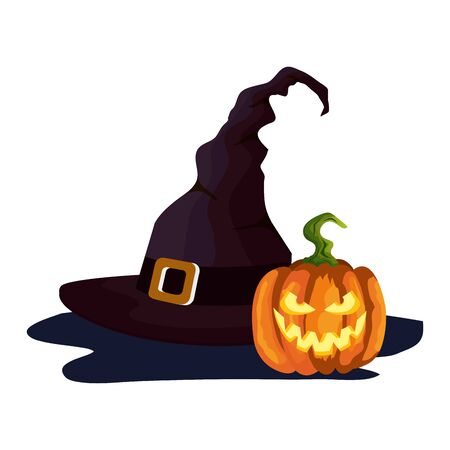 hat of witch and pumpkin of halloween vector illustration design
