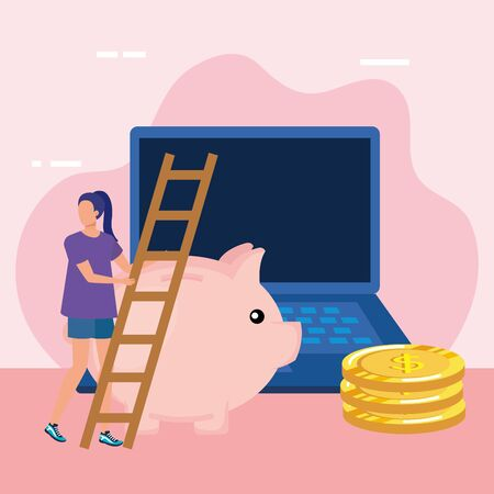 young woman with piggy savings and stairs vector illustration design Иллюстрация