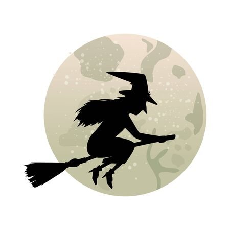 witch silhouette flying in broom isolated icon vector illustration design Çizim