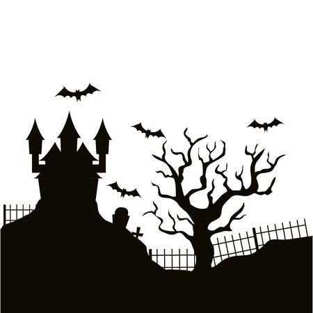 silhouette of haunted castle halloween vector illustration design Çizim