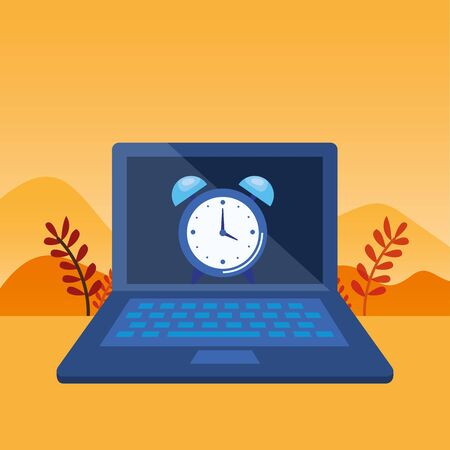 laptop computer with alarm clock vector illustration design Ilustrace