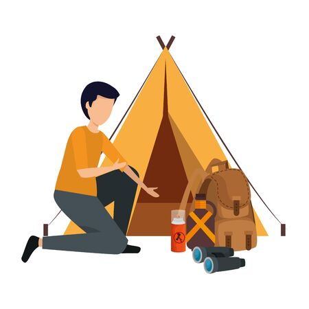 tent camping with man and travel bag vector illustration design