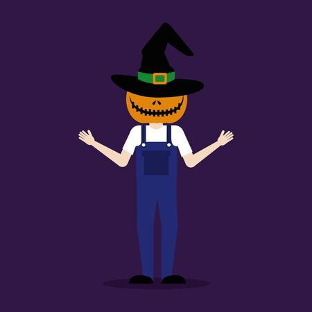 halloween young man disguised of scarecrow vector illustration design
