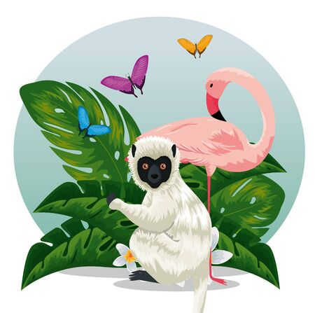 lemur with flamish and butterflies animals with leaves vector illustration