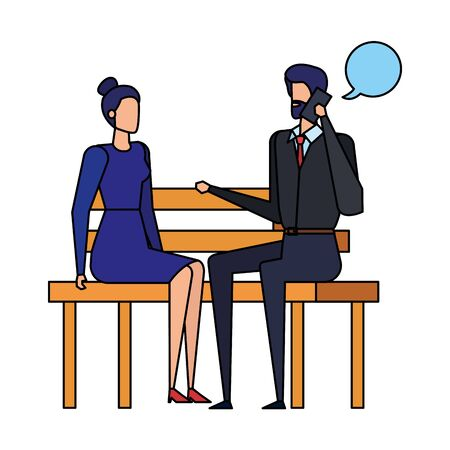 business couple calling in the park chair and speech bubbles vector illustration Иллюстрация