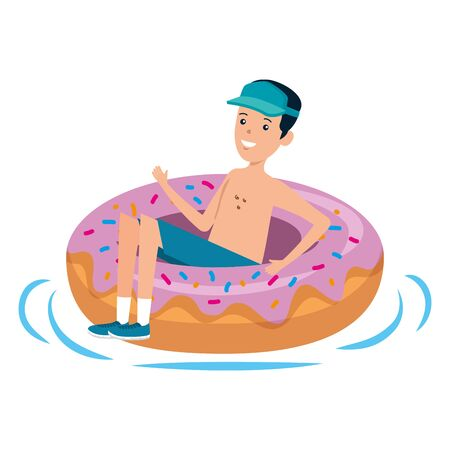 young man with donut float character vector illustration design