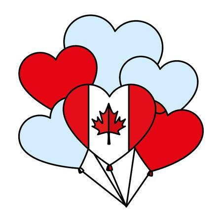 balloons helium with canadian flag and heart shape vector illustration design Illusztráció