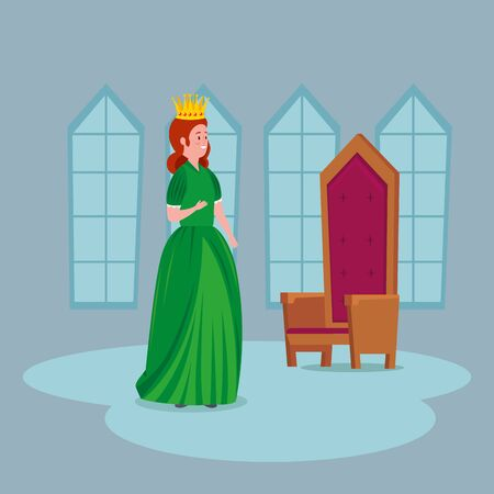 beautiful princess with chair in castle vector illustration design