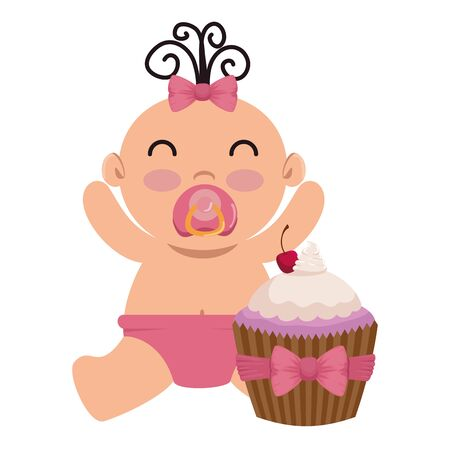 cute little baby girl with sweet cupcake vector illustration design Illustration