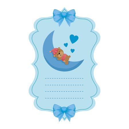 baby shower card with little bear teddy sleeping vector illustration design Stock fotó - 133558394