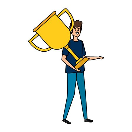 young man lifting trophy cup award vector illustration design Stockfoto - 133567199