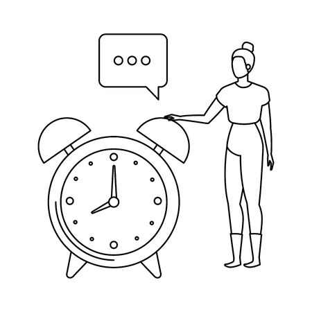 young woman with alarm clock character vector illustration design