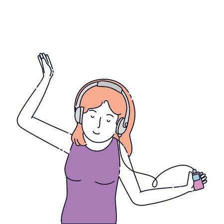 young woman with earphones and music player vector illustration design