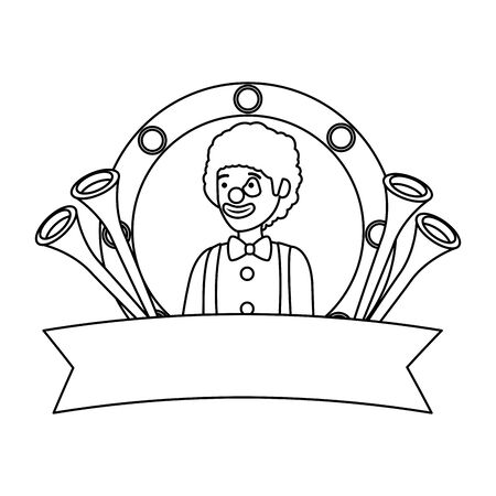 circus clown with trumpets in emblem vector illustration design