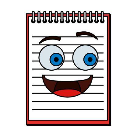 Cuaderno escuela kawaii personaje de cómic, diseño de ilustraciones vectoriales Ilustración de vector
