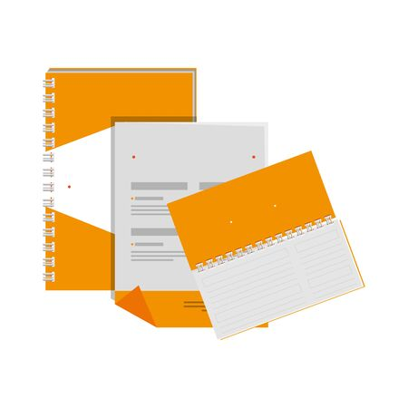 notepad and envelope with company emblem print vector illustration design