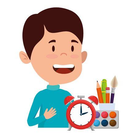 happy student boy with alarm clock and supplies vector illustration design Illusztráció