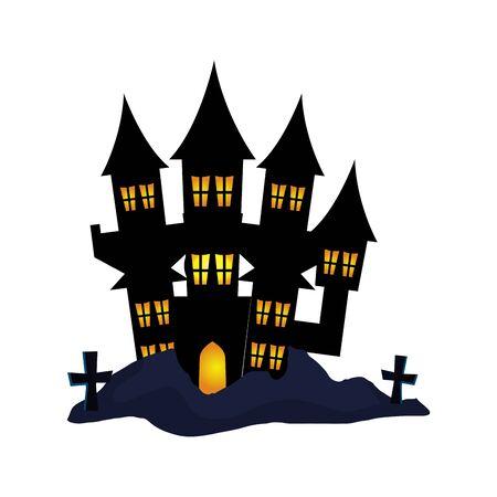 haunted castle halloween with crosses vector illustration design