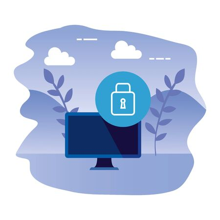 desktop computer device with padlock vector illustration design 版權商用圖片 - 133571763