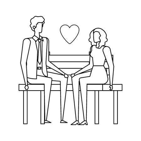 business couple lovers seated in the park chair with heart vector illustration design