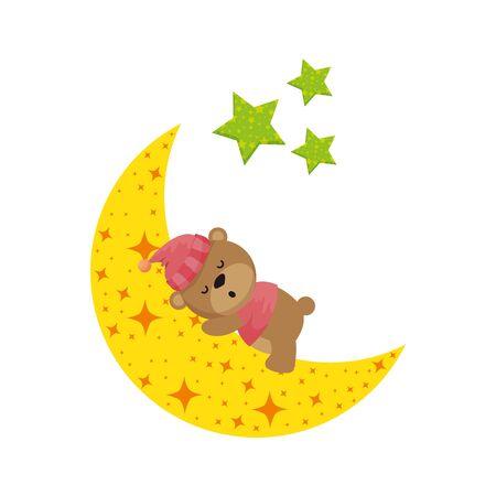 baby shower card with little bear teddy sleeping vector illustration design