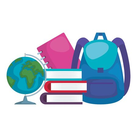 pile textbooks with schoolbag and world planet vector illustration design