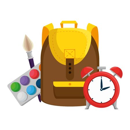 schoolbag with alarm clock and paint supplies vector illustration design