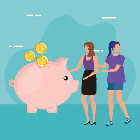 young women with piggy savings characters vector illustration design