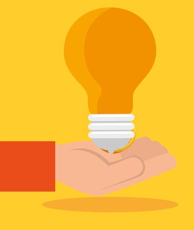 hand with bulb idea and business finance over yellow background, vector illustration