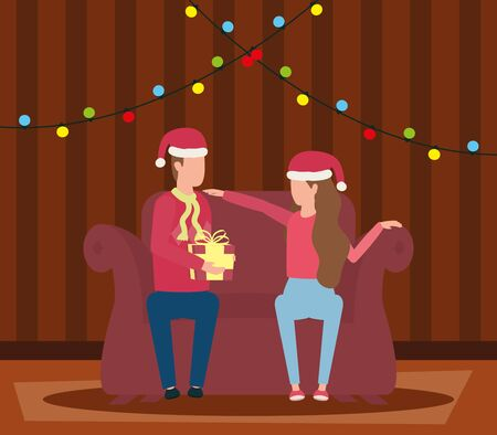 happy merry christmas couple celebrating in livingroom vector illustration design Stock fotó - 133572643