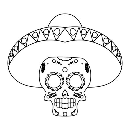 mariachi skull playing guitar comic character vector illustration design Ilustrace