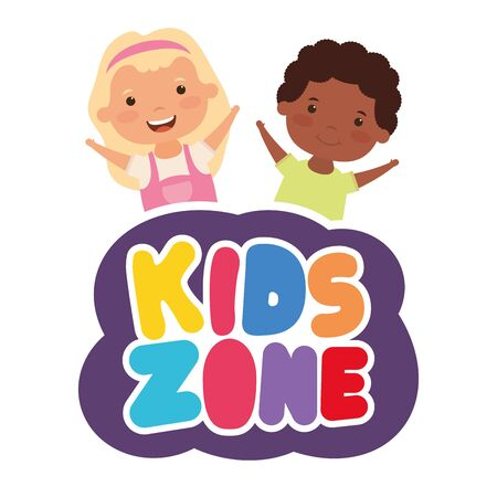 cute little interracial children couple with kids zone lettering vector illustration design Illusztráció