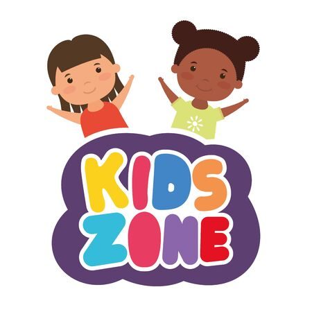cute little interracial girls with kids zone lettering vector illustration design