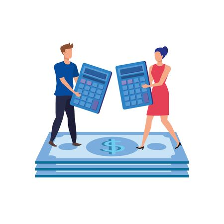 young couple with bills and calculators vector illustration design