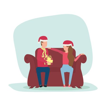 happy merry christmas couple celebrating in livingroom vector illustration design
