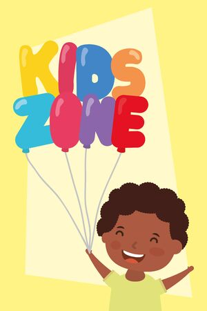 little afro boy with kids zone balloons helium vector illustration design