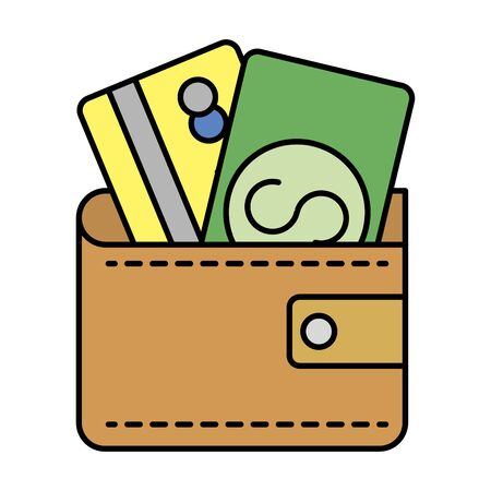 wallet with credit card and bill money vector illustration design