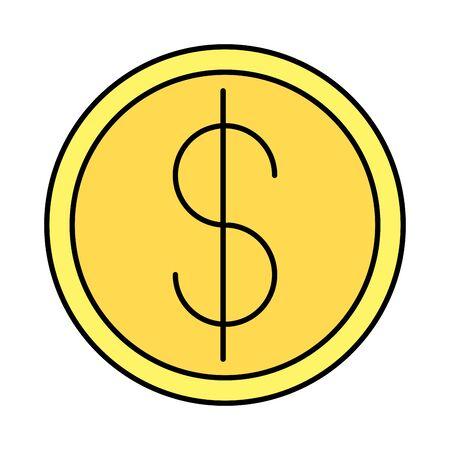 moneta denaro dollaro isolato icona illustrazione vettoriale design