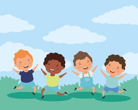 group of little interracial boys characters vector illustration design
