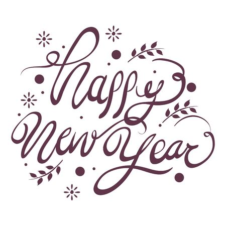 happy new year lettering icon vector illustration design