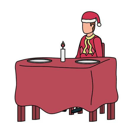 young man with christmas hat in dinner table vector illustration design